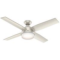 Hunter Fan 59450 Dempsey 52 inch Matte Nickel with Matte Nickel/Walnut Blades Ceiling Fan