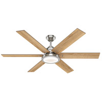 Hunter Fan 59462 Warrant 60 inch Brushed Nickel with Drifted Oak/Bleached Grey Pine Blades Ceiling Fan