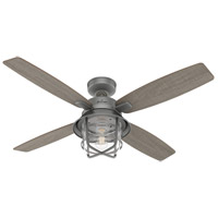 Hunter Fan 50390 Port Royale 52 inch Matte Silver with Grey Walnut Stripe/Roasted Maple Blades Outdoor Ceiling Fan