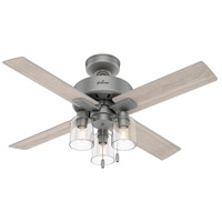Hunter Fan 50331 Pelston 44 inch Matte Silver with Light Gray Oak Blades Ceiling Fan