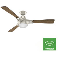 Hunter Fan 59378 Signal 54 inch Matte Nickel with Reclaimed Walnut/Burnt Oak Grain Blades Ceiling Fan photo thumbnail