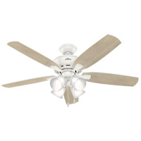 Hunter Fan 53217 Amberlin 52 inch Fresh White with Fresh White/Bleached Grey Pine Blades Ceiling Fan