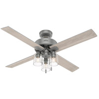 Hunter Fan 50323 Pelston 52 inch Matte Silver with Light Gray Oak Blades Ceiling Fan