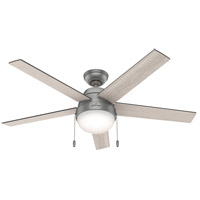 Hunter Fan 50230 Anslee 52 inch Matte Silver with Light Gray Oak/Greyed Walnut Blades Ceiling Fan
