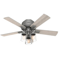 Hunter Fan 50653 Hartland 44 inch Matte Silver with Light Gray Oak Blades Ceiling Fan