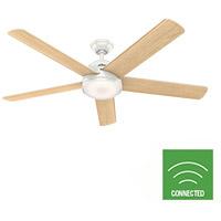 Hunter Fan 59484 Romulus 60 inch Fresh White with Blonde Oak/Fresh White Blades Ceiling Fan