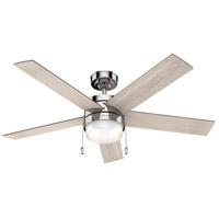 Hunter Fan 59621 Claudette 52 inch Polished Nickel with Light Gray Oak/Drifted Oak Blades Ceiling Fan