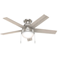 Hunter Fan 50278 Anslee 46 inch Brushed Nickel with Light Gray Oak/Natural Wood Blades Ceiling Fan