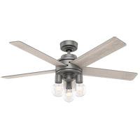 Hunter Fan 51842 Hardwick 52 inch Matte Silver with Light Gray Oak Blades Ceiling Fan