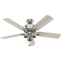 Hunter Fan 50604 Devon Park 52 inch Brushed Nickel with Light Gray Oak Blades Ceiling Fan