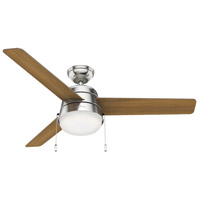 Hunter Fan 50380 Aker 52 inch Brushed Nickel with American Walnut/Natural Wood Blades Ceiling Fan