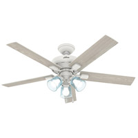 Hunter Fan 50854 Whittier 52 inch Matte White with Bleached Oak/White Blades Ceiling Fan