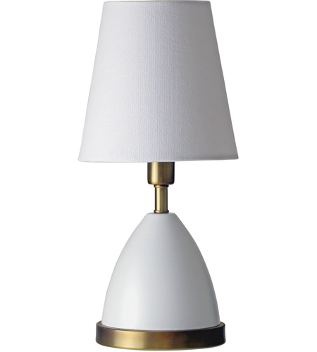 House of Troy GEO206 Geo 12 inch 60 watt White/Weathered Brass Mini Accent Lamp Portable Light photo
