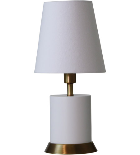 House of Troy GEO306 Geo 12 inch 60 watt White/Weathered Brass Mini Accent Lamp Portable Light photo