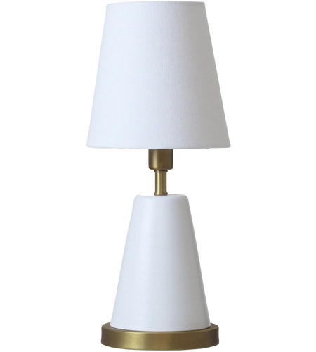 House of Troy GEO406 Geo 13 inch 60 watt White/Weathered Brass Mini Accent Lamp Portable Light photo