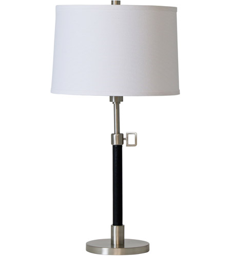 House of Troy H550-SN Hardwick 24 inch 100 watt Satin Nickel with Black Leather Table Lamp Portable Light photo