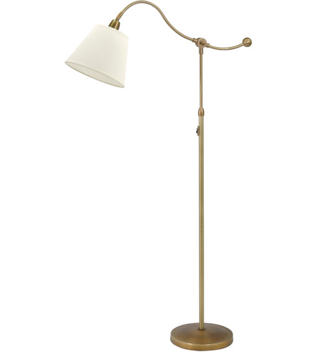 House of Troy HP700-WB-WL Hyde Park 57 inch 100 watt Weathered Brass Floor Lamp Portable Light in White  photo