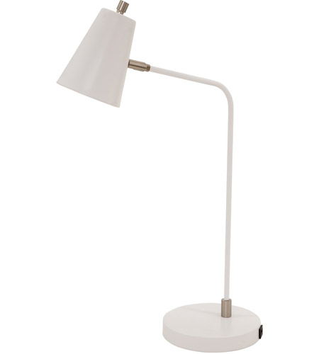 House of Troy K150-WT Kirby 24 inch 6.2 watt White Table Lamp Portable Light, with USB Port photo
