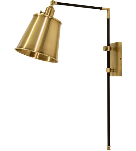 House of Troy M675-BLKAB Morgan 19 inch 75 watt Black with Antique Brass Adjustable Wall Lamp Wall Light photo