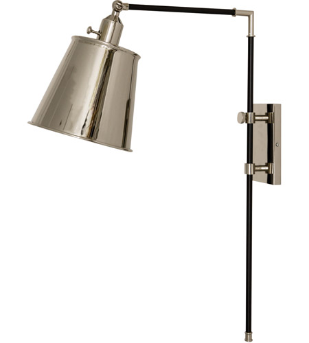 House of Troy M675-BLKPN Morgan 19 inch 75 watt Black with Polished Nickel Adjustable Wall Lamp Wall Light photo