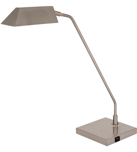 House of Troy NEW250-SN Newbury 21 inch 5 watt Black Table Lamp Portable Light in Satin Nickel, with USB Port photo