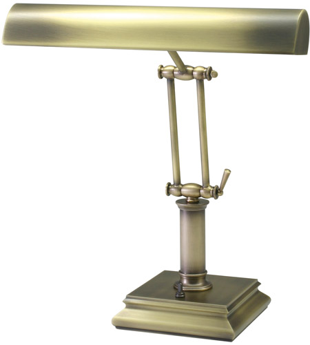 House of Troy P14-201-AB Piano and Desk 14 inch 60 watt Antique Brass Piano Lamp Portable Light in Square photo