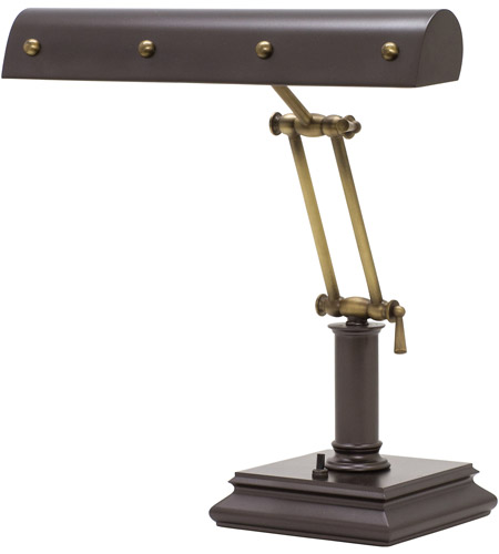 House of Troy PB14-201-MB/AB Signature 14 inch 60 watt Mahogany Bronze w/Antique Brass Accents Desk Piano Lamp Portable Light in Mahogany Bronze with Antique Brass Accents photo