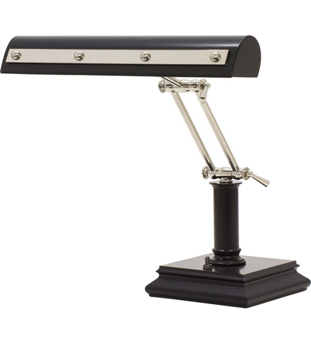 House of Troy PR14-201-BLK/PN Signature 14 inch 60 watt Black w/Polished Nickel Accents Desk Piano Lamp Portable Light in Black and Polished Nickel photo