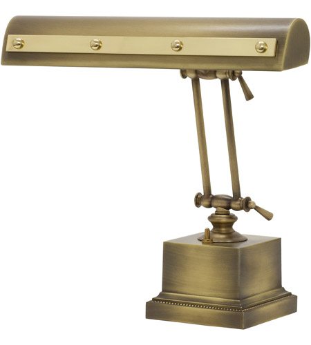 House of Troy PR14-202-AB/PB Signature 13 inch 60 watt Antique Brass w/Polished Brass Accents Desk Piano Lamp Portable Light in Antique Brass with Polished Brass Accents photo