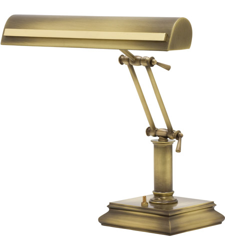 House of Troy PS14-201-AB/PB Signature 14 inch 60 watt Antique Brass w/Polished Brass Accents Desk Piano Lamp Portable Light in Antique Brass with Polished Brass Accents photo