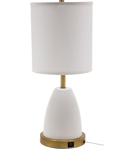 House of Troy RU751-WT Rupert 21 inch 100 watt White with Weathered Brass Table Lamp Portable Light photo