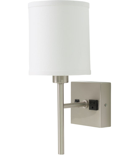 House of Troy WL625-SN Signature 1 Light 6 inch Satin Nickel Wall Lamp Wall Light, with Convenience Outlet photo
