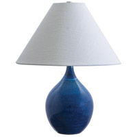 Scatchard 19 inch 100 watt Blue Gloss Table Lamp Portable Light