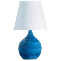 Scatchard 14 inch 150 watt Blue Gloss Mini Accent Lamp Portable Light