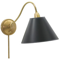 Hyde Park 14 inch 100 watt Weathered Brass Wall Swing Arm Wall Light in Black Parchment