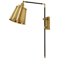 House of Troy M675-BLKAB Morgan 19 inch 75 watt Black with Antique Brass Adjustable Wall Lamp Wall Light photo thumbnail