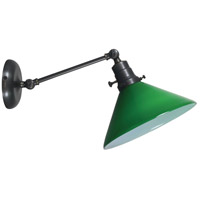 Otis 17 inch 60 watt Oil Rubbed Bronze Swing Arm Sconce Wall Light in Green Glass, Direct Wire Only