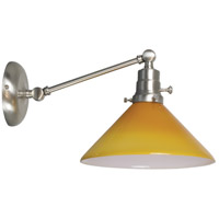 Otis 17 inch 60 watt Satin Nickel Swing Arm Sconce Wall Light in Amber Glass, Direct Wire Only