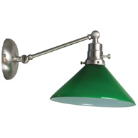 Otis 17 inch 60 watt Satin Nickel Swing Arm Sconce Wall Light in Green Glass, Direct Wire Only