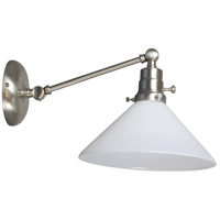 Otis 17 inch 60 watt Satin Nickel Swing Arm Sconce Wall Light in White Glass, Direct Wire Only