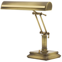 Signature 14 inch 60 watt Antique Brass w/Polished Brass Accents Desk Piano Lamp Portable Light in Antique Brass with Polished Brass Accents