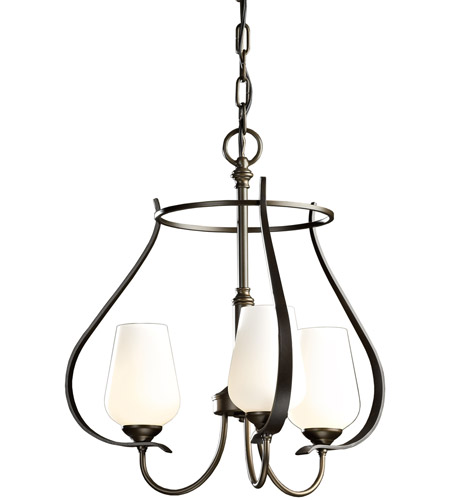 Hubbardton Forge 103047-1022 Flora 3 Light 19 inch Natural Iron Chandelier Ceiling Light