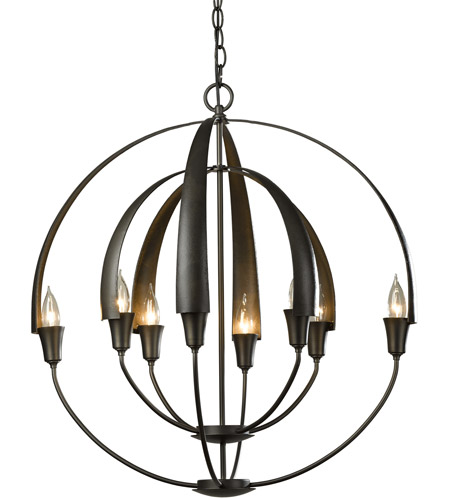 Hubbardton Forge 104205-1003 Double Cirque 8 Light 25 inch Dark Smoke Chandelier Ceiling Light