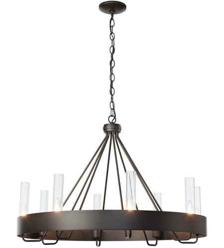 Hubbardton Forge 105040 1002 Banded Ring 8 Light 32 Inch Dark Smoke Chandelier Ceiling