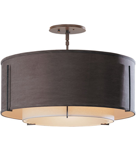 Hubbardton Forge 126503-1493 Exos 3 Light 23 inch Dark Smoke Semi-Flushmount Ceiling Light