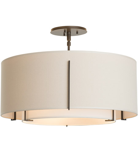 Hubbardton Forge 126503-2088 Exos 3 Light 23 inch Mahogany Semi-Flush Mount Ceiling Light
