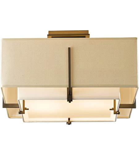 Hubbardton Forge 126507-1327 Exos 2 Light 17 inch Soft Gold Semi-Flush Mount Ceiling Light, Square Small