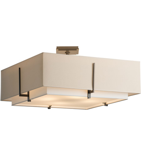 Hubbardton Forge 126513-1110 Exos 4 Light 25 inch Burnished Steel Semi-Flushmount Ceiling Light, Square Large
