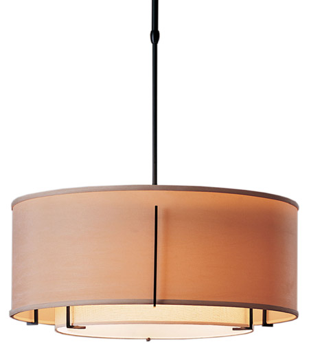 Hubbardton Forge 139605-3433 Exos 3 Light 23 inch Burnished Steel Pendant Ceiling Light in Natural Anna Inner with Natural Linen Outer, Standard, Fluorescent, Standard Pipe photo