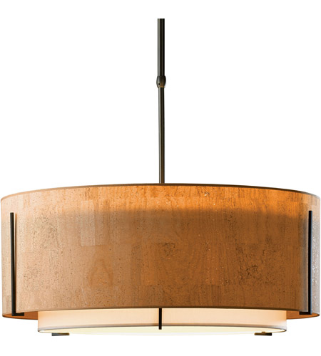 Hubbardton Forge 139610-1904 Exos 3 Light 28 inch Vintage Platinum Pendant Ceiling Light in Natural Linen Inner with Terra Suede Outer, Standard, Incandescent, Large,Standard Pipe photo